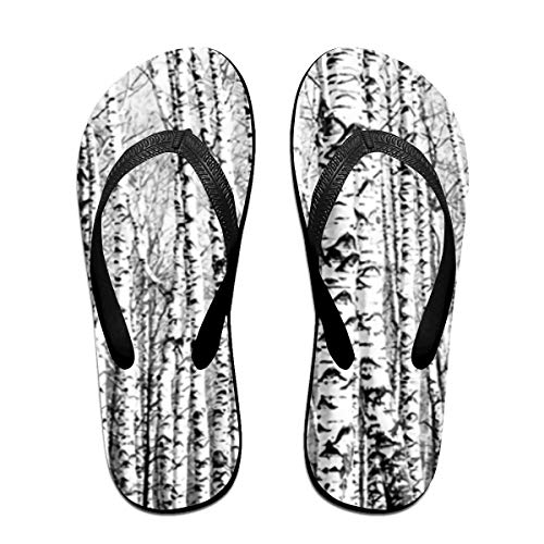 - JEFFERYjSPARKS Birch Forests Canvas Picture Men's and Women's Unisex Beach Summer Casual Flip Flop Sandals L