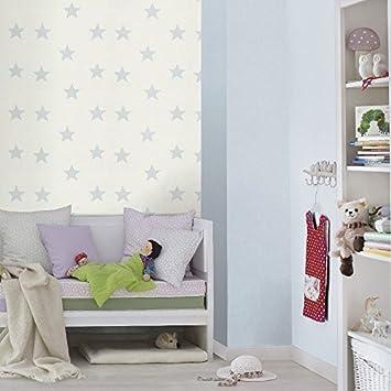 Rasch Sternmuster Kinder Tapete Kinderzimmer Streifen Motiv Texturiert  Waschbar   245615 Hellblau