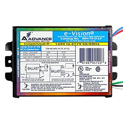 Advance IMH70DLFM - 70 Watt - Metal Halide Ballast - Pulse Start - 120/277 Volt - ANSI M98 M139 or M143 - Power Factor 90 - Max Temp Rating 85 deg C.