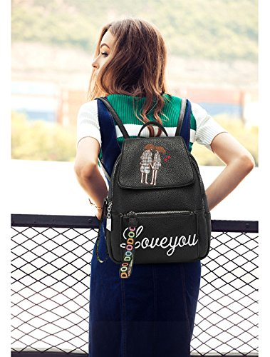 Travel Shoulder PU Backpack Outdoor College amp;DORIS Bag B NICOLE Leather Women School Black RqSS1I