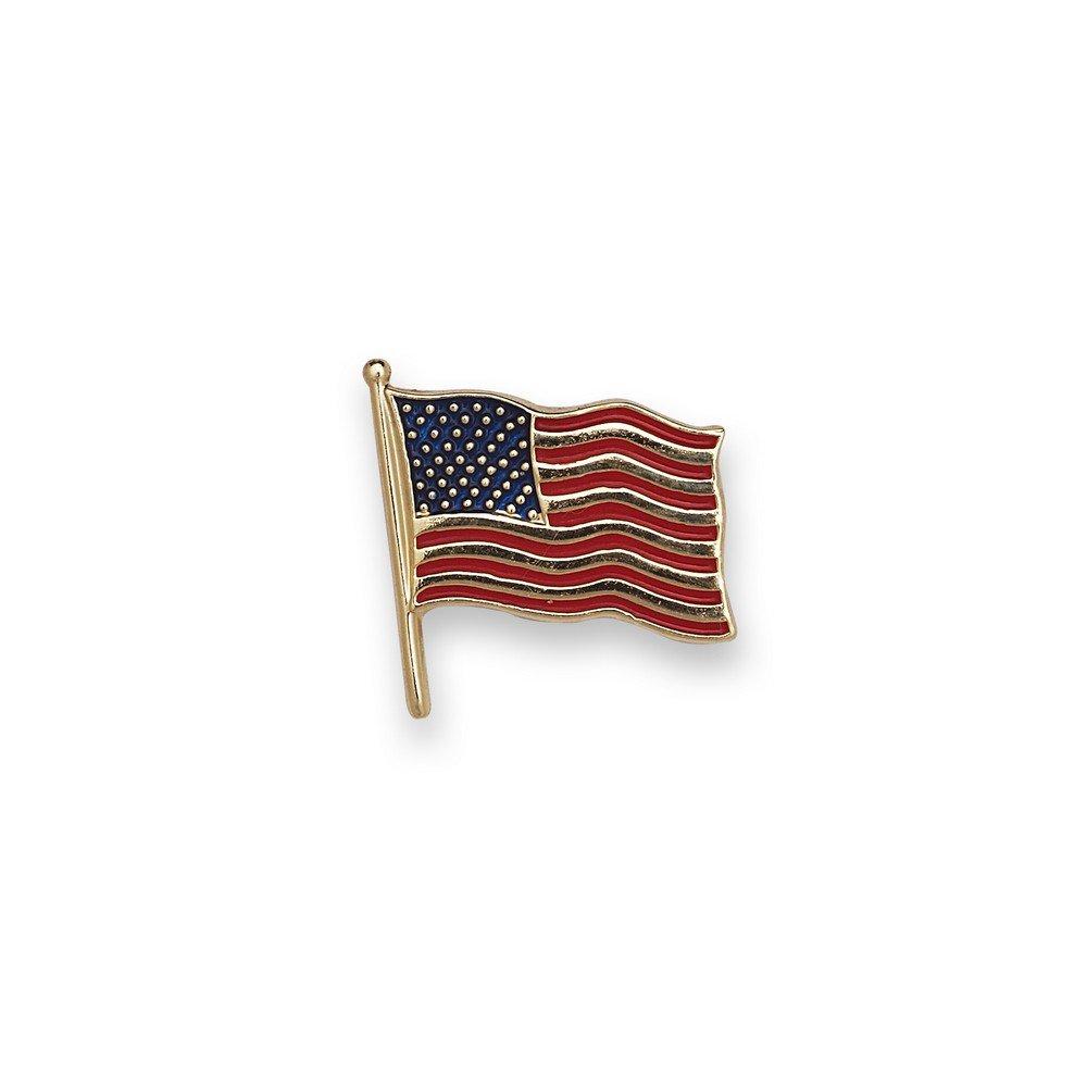 14k Yellow Gold American Flag Lapel Pin 14.5x14mm Color - JewelryWeb