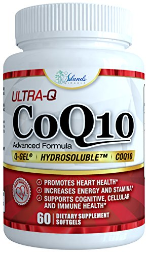 CoQ10 Ultra Absorption - Patented Water and Fat Soluble Hydrosoluble - Best Ubiquinone Coenzyme Q10 to Support Heart Health and Increased Energy - 100mg capsule 60 Day Supply by Island's Miracle