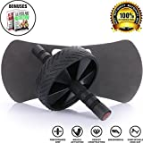 Ab Roller & 3 FREE Bonuses - Fitness Equipment for Abs Training and Muscle Building - Get Abs & Lose Weight with this Ab Wheel - Perfect for Home Gym Workout - Great Exercise Equipment for Women & Men