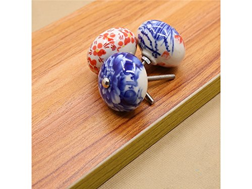 Hezon 6 Pcs Ceramic Flower Door Drawer Knobs Pulls Handles for Dresser Kitchen Cabinet (Random Pattern) EASY TO USE