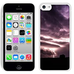 NEW Unique Custom Designed iPhone 5C Phone Case With Purple Clouds Lightning Over Field_White Phone Case