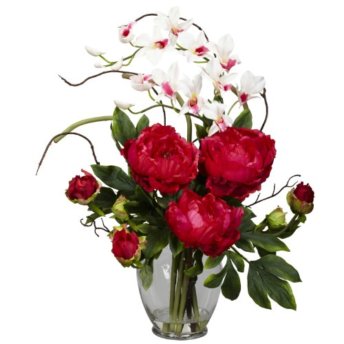 Nearly Natural 1175-RD Peony and Orchid Silk Flower Arrangement, Red (Floral Arrangement Peony)