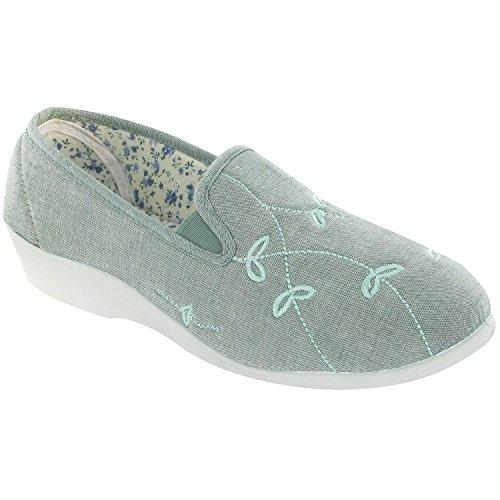 Mirak Bessie Damen Canvas Schuhe Freizeitschuhe Slipper Damenschuhe Halbschuhe Grün