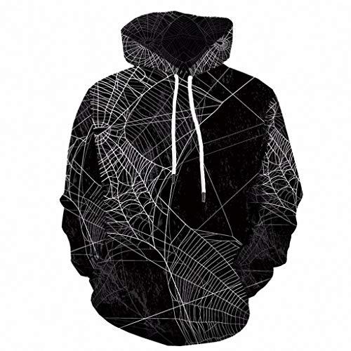 Xinantime Women and Men Hooded Sweatshirt Halloween 3D Print Hooded Party Long Sleeve Hoodie Scary Print Blouse