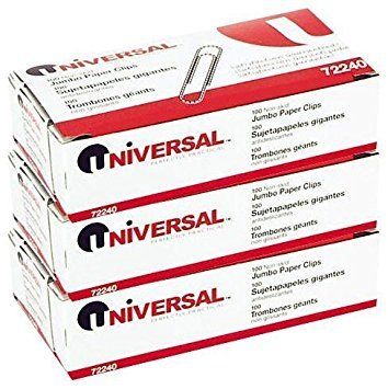 Universal Nonskid Paper Clips, Wire, Jumbo, Silver-100 ct, 3 pk (Jumbo Paper Clips)