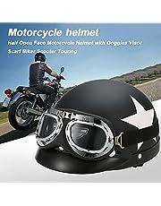 RuleaxAsi 1# نصف وجه مفتوح خوذة دراجة نارية مع نظارات واقية وشاح الدراجة النارية جولة