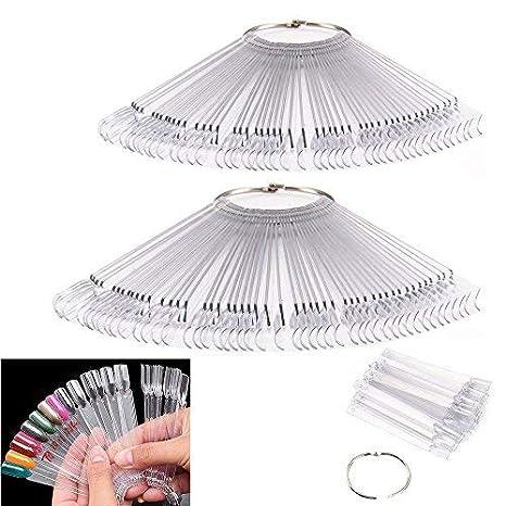 Ardisle - 2 abanicos de muestra con 50 puntas de uñas postizas de color para practicar, para principiantes, rueda de pulido transparente: Amazon.es: Belleza