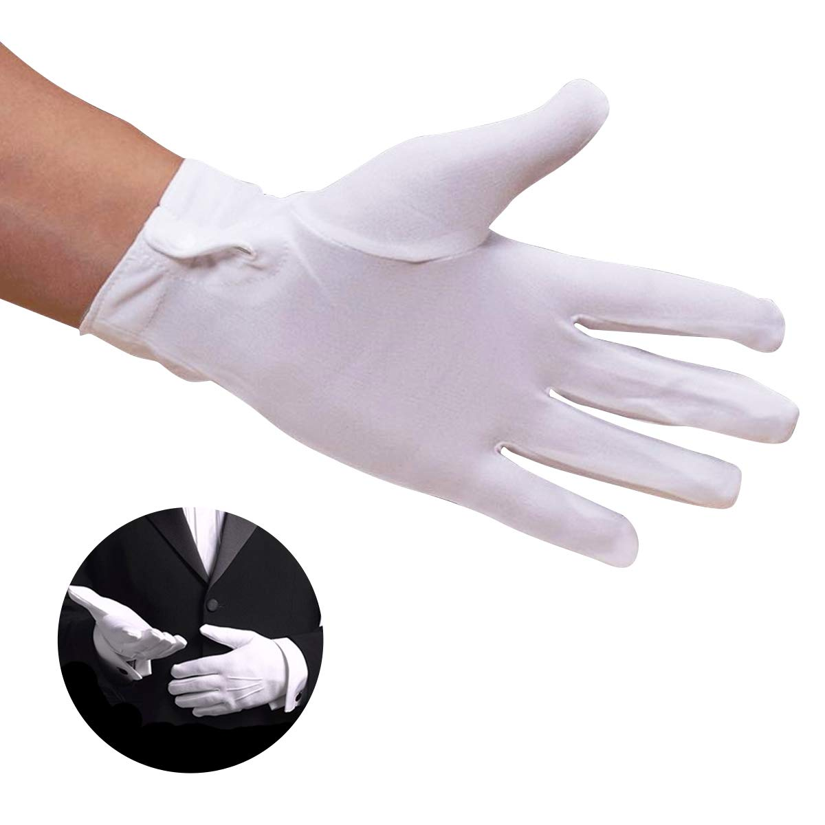 12 Pairs White Gloves for Childrens Hand Moisturizing Gloves Pure Cotton Gloves for Police Formal Tuxedo Honor Guard and Special Occasions