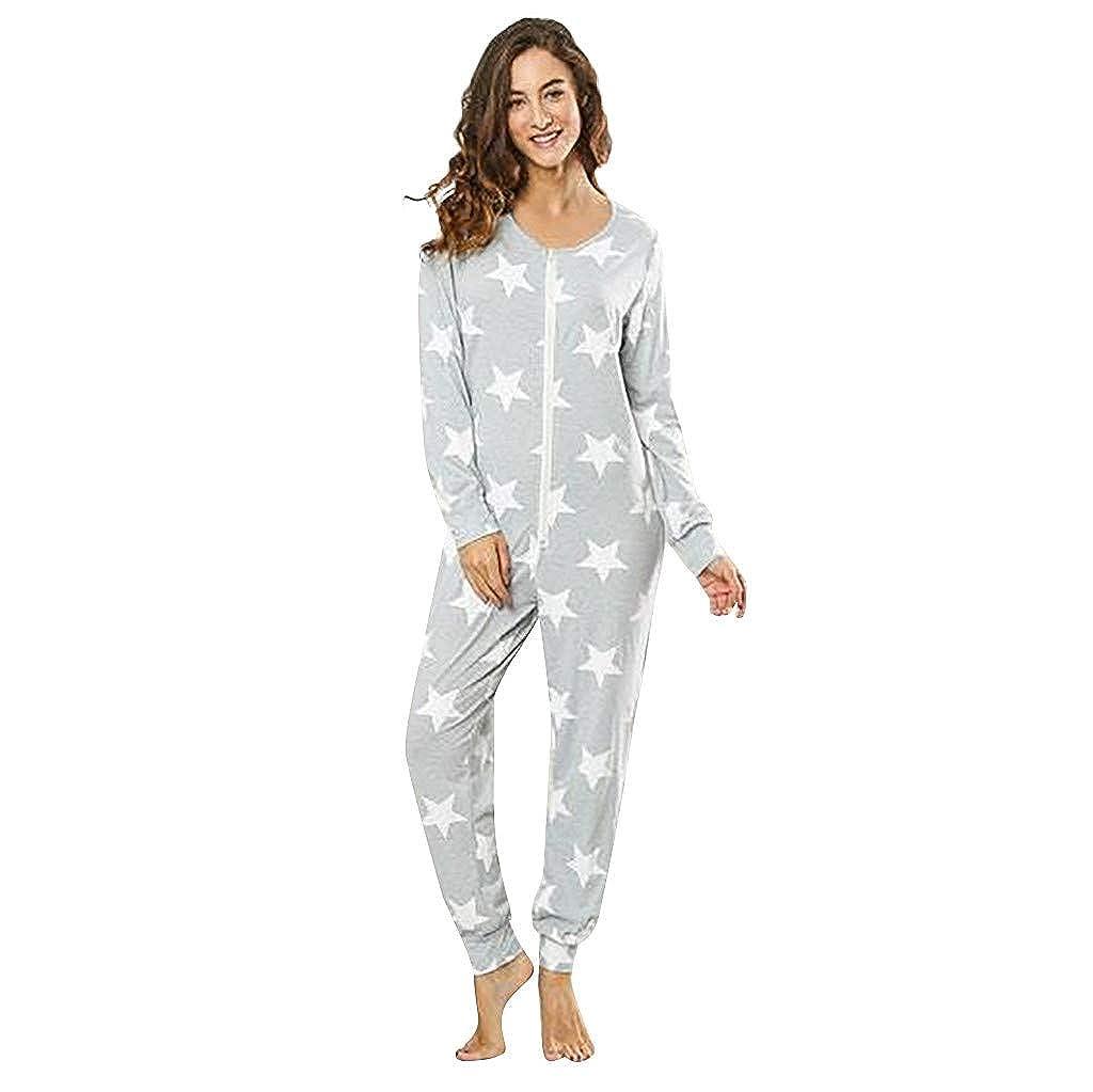 FRAUIT Damen Mode Age Jumpsuit Strampler Ganzk/örperanzug Overall Sternen Kuschelig Warm Siamesischer Schlafanzug Druck Langarm Sweatshirt Home Service Overall