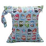 Baby Infant Waterproof Zipper Reusable Cloth Diaper Bag (Owl Pattern Light Blue)