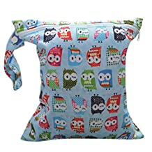 Baby Infant Waterproof Zipper Reusable Cloth Diaper Bag (Owl Pattern Light Blue)