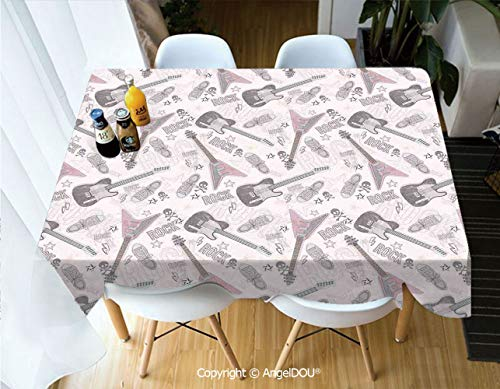 AngelDOU Fashion Durable Polyester Printed Tablecloth Pattern with Guitars Shoes Skulls Crossbones Stars Punk Rock Music Concert for Kitchen Dining Room Outdoor Camping,W55xL55(inch)