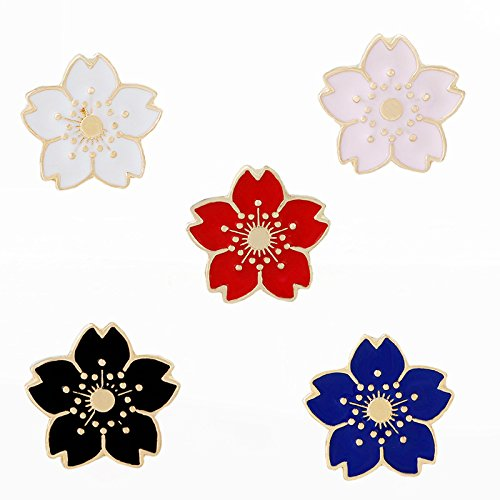 Cherry Blossom Sakura Lapel Pins Brooch Badge Pins Clothing Bag Decor 5pcs ()