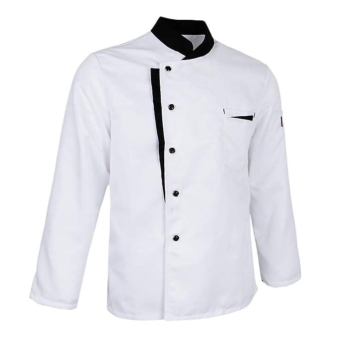 Baoblaze Giacca Hotel Cucina Camicia Uniformi Da Chef Manica Lunga Costume  Da Lavoro Unisex - 3XL bianco d99902792786