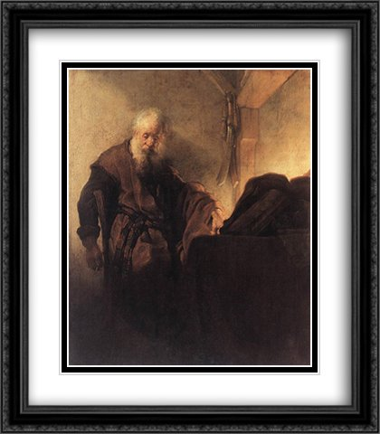 Paula Writing Desk - St. Paul at his Writing Desk 2x Matted 28x32 Large Black Ornate Framed Art Print by Rembrandt