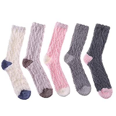 MQELONG Womens Super Soft Fuzzy Cozy Home Sleeping Socks Microfiber Winter Warm Slipper Socks (5 Pairs Mixed Color) at Women's Clothing store