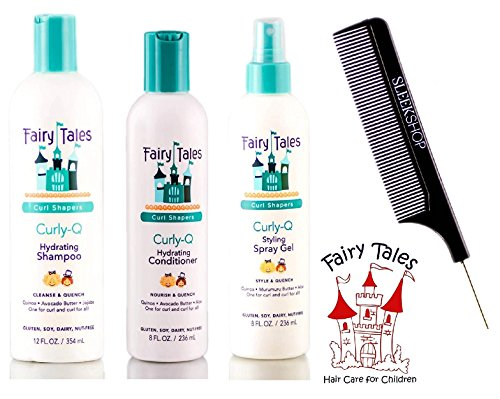 Fairy Tales CURLY Q Hydrating Shampoo, Conditioner, Styling Spray Gel TRIO Set, CURL SHAPERS (with Sleek Steel Pin Tail Comb) (12 oz + 8 oz + 8 oz TRIO Kit)