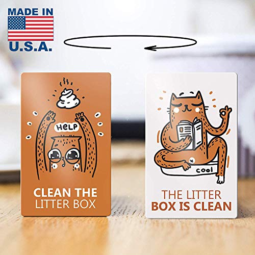 (VBAP Reversible Magnet Reminder for Fridge, Double Sided - Clean The Litter Box - The Litter Box is Clean)