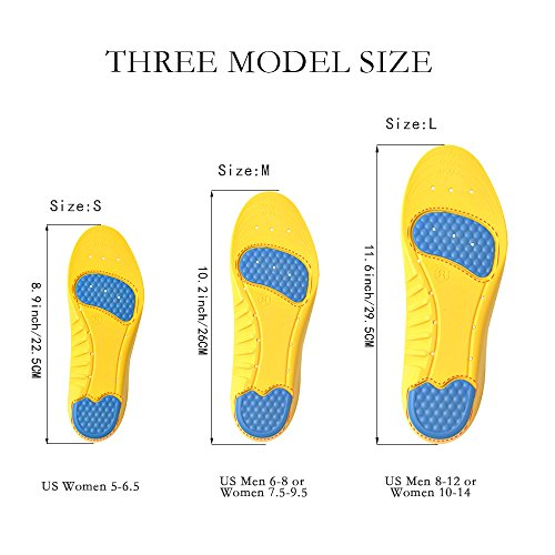 UYGHHK Shoe Insoles, Orthotic Insoles Gel Insoles, Memory Foam Insoles Providing Excellent Shock Absorption and Cushioning with Gel Pads, Best Insoles for Men and Women(Size L:Men 8-12 or Women 10-14) by UYGHHK (Image #5)
