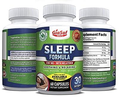 GiaSof Ultimate Sleep Aid Pills with, Melatonin, Magnesium, Ashwagandha, 5HTP, Chamomile, Valerian. Fall Asleep Fast, Sleep Longer and Wake Up Refreshed, All Natural, 100% Money Back Guarantee!