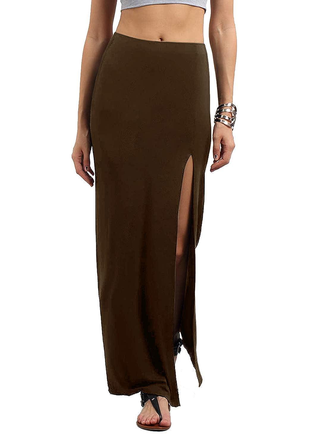 Brown Verdusa Women's Solid color High Waist Side Split Maxi Skirt