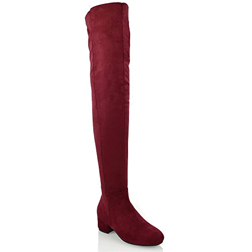 novel style top-rated genuine famous brand ESSEX GLAM Womens Over The Knee High Block Low Heel Ladies Tall Cut Out  Thigh High Boots Size 3-8