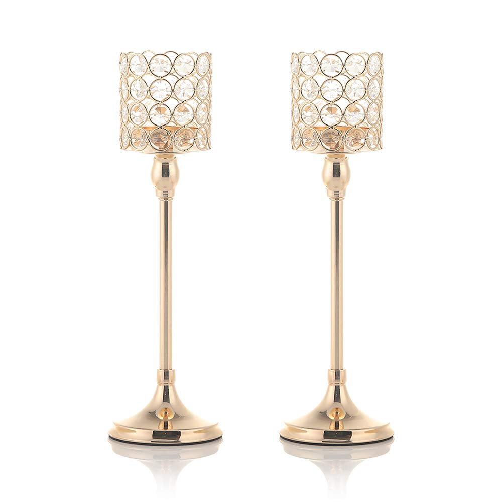 VINCIGANT Mothers Day Crystal Candle Holders Pack of 2 for Modern Anniversary Celebration Wedding Coffee Table Decorative Centerpieces,14 Inches Tall