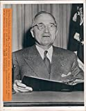 1946 President Harry Truman Brief Radio Address Franklin Roosevelt Press Photo