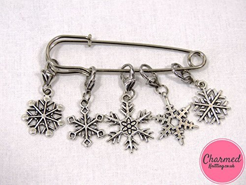 (Snowflakes - Crochet Stitch Markers - Silver set of 5 - perfect gift or stocking filler for those who love Crochet)