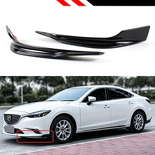 Fits for 2016-2017 Mazda 6 Grand Touring Glossy Black 2 Pieces Add on Style Front Bumper Side Splitter Lip