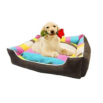 LA VIE Moda Rainbow Rayado Sofá Cama para Perro con Cojin Extraíble Cesta Cómoda y Suave para Mascotas Gatos Cachorros Perros Pequeños S: Amazon.es: ...