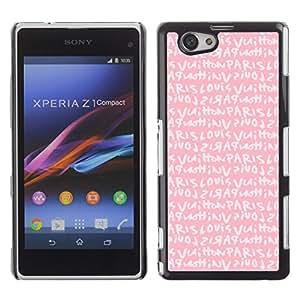 Chicas texto rosado París amor romántico - Metal de aluminio y de plástico duro Caja del teléfono - Negro - Sony Xperia Z1 Compact / Z1 Mini (Not Z1)
