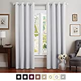 """Vangao Greyish White Blackout Curtains 1 Panel 52""""Wx84""""L Room Darkening Thermal Insulated Solid Grommet Window Drapes/panels for Bedroom/Living Room"""