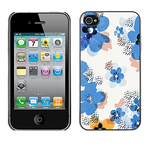 Soft Silicone Rubber Case Hard Cover Protective Accessory Compatible with Apple iPhone? 4 & 4S - flower pattern white clean floral