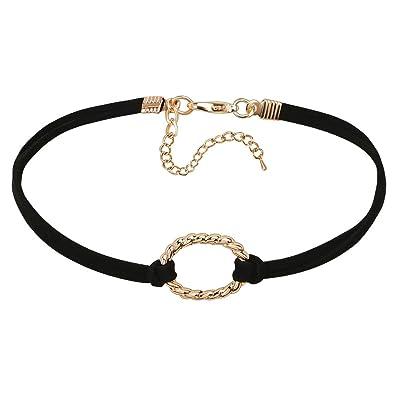 Epinki Damen Choker, Halskette Samtband O-Ring Form Anhänger Rock Hoker  Gothic Halsband Halsschmuck Schwarz Gold 32.3CM  Amazon.de  Schmuck 7e289240c9