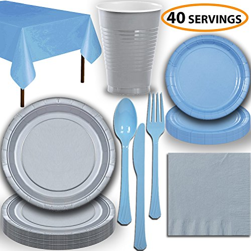 Disposable Party Supplies, Serves 40 - Silver and Light Blue - Large and Small Paper Plates, 12 oz Plastic Cups, Heavyweight Cutlery, Napkins, and Tablecloths. Full Two-Tone Tableware Set -