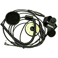 AOER Full Face Moto Motorcycle Bike Helmet Earpiece Headset Mic Microphone for 1-pin Motorola Talkabout Cobra Radio