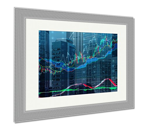 Ashley Framed Prints Forex Chart Over The Of The Skyscrapers Of The International Business Centre In, Wall Art Home Decoration, Color, 34x40 (frame size), Silver Frame, - Frame Chart Size