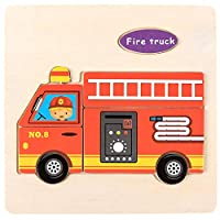 Educational Wooden Puzzle for Kids Animal and Vehicle Patterns - Fire Truck