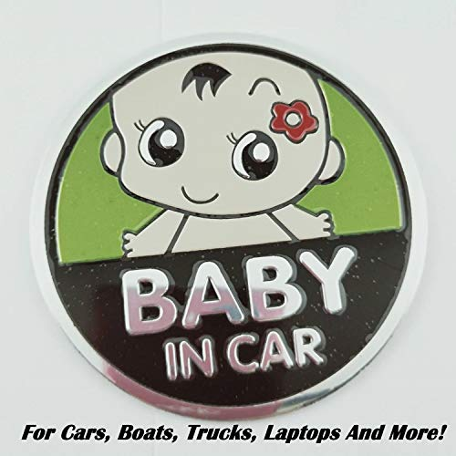 Heavens Tvcz Baby On Board Reflective Aluminum Alloy Car Stickers Baby in Car (Girl) Decals Emblem Badge for Cars, Boats, Trucks, Laptops and More! Decorations, Safety Sign (1-Pack) (Sign Girl Aluminum)