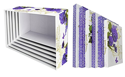 ALEF Elegant Lavender & Tulips Decorative Themed Extra Large Nesting Gift Boxes -6 Boxes- Nesting Boxes Beautifully Themed Decorated Simple Decoration Around The House!