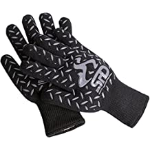 Cooking Gloves Heat Resistant - SPD 932°F Extreme High Heat BBQ Grill Gloves Temperature Protection, Oven Mitts, Welders Kevlar Aramid Oven Gloves, Big Green Egg Grill Mitts (One Size, Black)