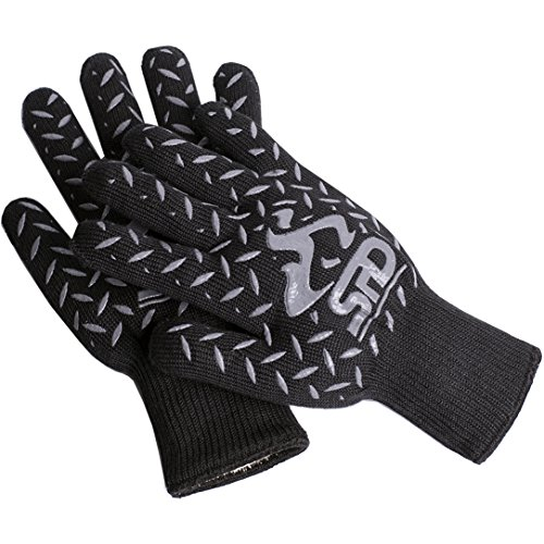 Amazon #LightningDeal 64% claimed: SPD BBQ Grill and Oven Gloves, 932°F Extreme Heat Resistant Gloves, Cooking Gloves and BBQ Grill Mitts with Lining, High Temperature Woodburner Oven Mitts, 100% Pro Protection Kevlar & Aramid BBQ Gloves - Black, One ...