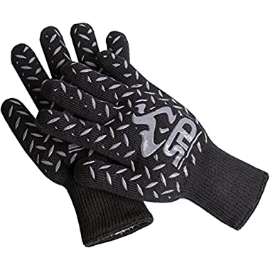 SPD Cooking Gloves Heat Resistant, 932°F Extreme High Heat Temperature Protection, BBQ Grill Mitts with Lining, Woodburner Oven Mitts, Welders Kevlar Aramid Oven Gloves, Flame Resistant Gloves