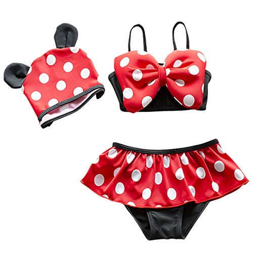 Jastore 3pcs Baby Girls Swimwear Cute Polka Dots Bikini Set Swimsuit (3 Piece Polka Dots Bikini)