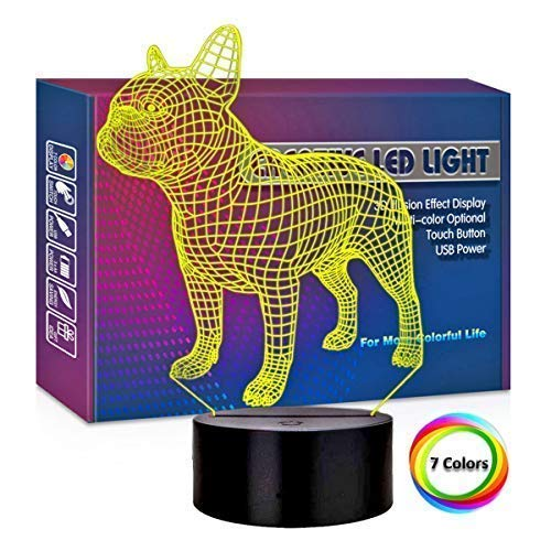 Dog 3D Lights Optical Illusions, Dog Night Light 3D with 7 Color Changing Lamp, Cool Soft Light Safe for Kids Boy Girl Dog Lover Collection Bedroom Decoration Xmas Birthday Gift (3D Bulldog Lamp)
